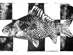 Linocut print on paper